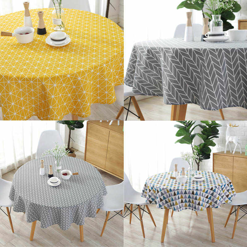 Linen Printing Tablecloth Round Table Cloth 1 Pcs Table Cover Nordic Polyester Cotton Home Kitchen Decoration 150cm