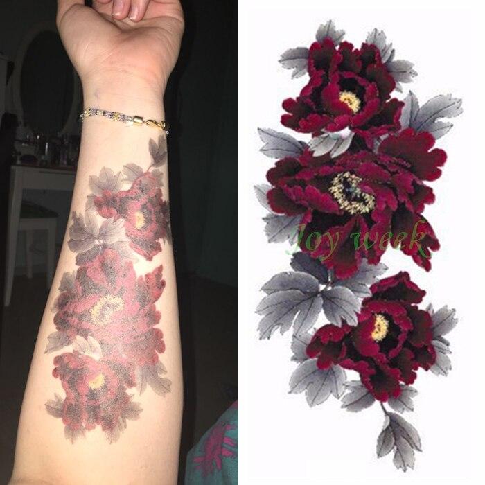 Waterproof Temporary Tattoo Sticker dark red peony flower women's body art tatto sticker