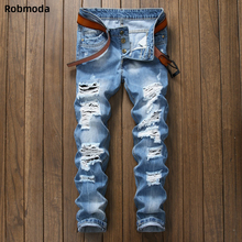 2019 slim fit jeans men pants hot sale Ripped holes button skinny biker jeans blue Denim Trousers Straight Washed with Pleated недорго, оригинальная цена