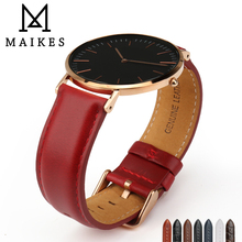 MAIKES Genuine Leather Replace Bracelet Trendy Red Women Watch Band 12/13/14/16/17/18/19/20 For Lady Band Watch Watch Strap pesno durable men women genuine leather watch strap 12 14 16 18 19 20 21 22mm calf skin watch band