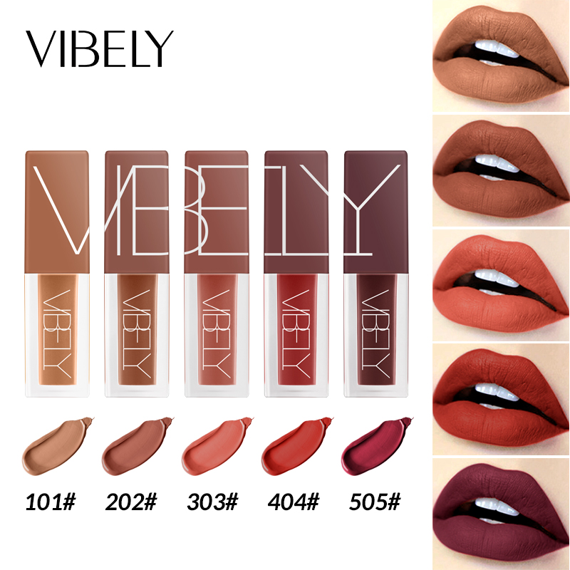 pudaier brand makeup long lasting lip color velvet red brown pigment in ink liquid cosmetic for lips nude
