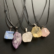 Natural Rough Stones Gemstones and Minerals Crystals Raw Stone Pendant Irregular Quartz Cristal Necklace 1pc