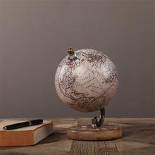 American retro globe ornaments handmade wood small globe decoration study entrance Office Bookcase Decor housewarming gift