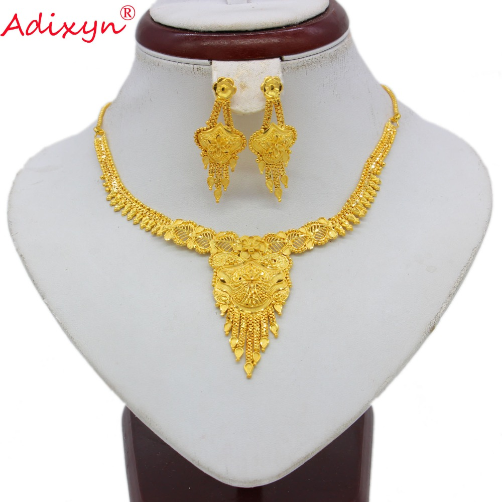 Adixyn Tassels Necklace/Earrings Jewelry Set For Women/Girls Gold Color/Copper African/Ethiopian/Dubai/Nigeria Items N071014 adixyn dubai gold bangles fashion jewelry for women men gold color bangles bracelets african india middle east items free box