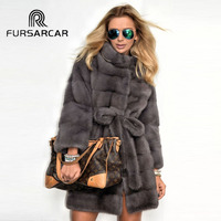 FURSARCAR New Arrival Real Mink Fur Coat Women Hot Sale 85 CM Long Genuine Mink Fur Female Coat With Fur Collar High Quality