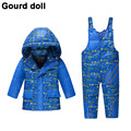 2016 Baby boys winter down clothes set Suitable 10-24 months kids Cute snow wear thicken down jacket+overalls two pcs suit