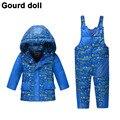2016 de los Bebés de invierno ropa abajo conjunto Adecuado 10-24 meses niños Lindos de la nieve desgaste espesar down jacket + trajes de dos piezas traje