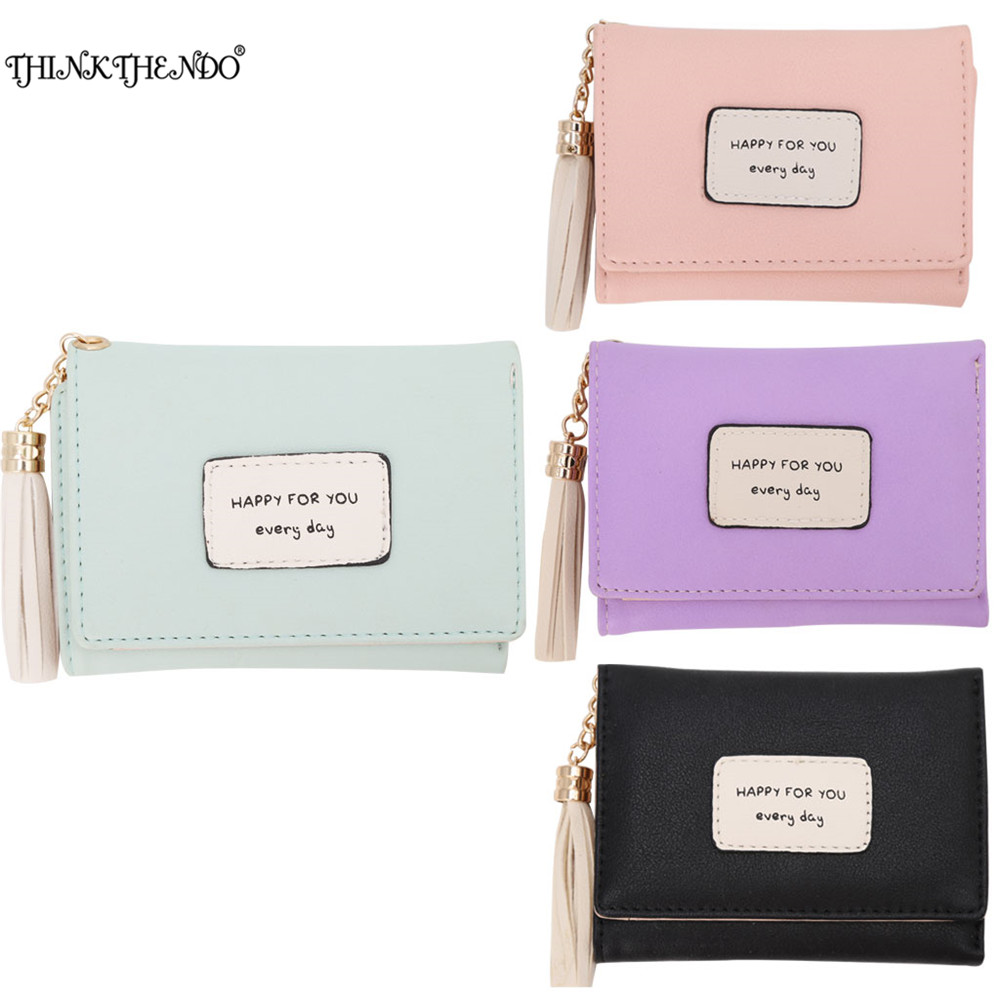 THINKTHENDO Portable Women Leather Small Wallet Trifold Card Holder Coin Tassel Purse Clutch Hasp Green/Black/Pink/Purple thinkthendo women leather card phone holder long arrow wallet checkbook tassel handbag purse