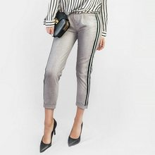 67d65d171706 Tangada mujeres elegante lado raya negro pantalones elástico cintura ladies  otoño casual gris Corea moda Pantalones mujer HY81