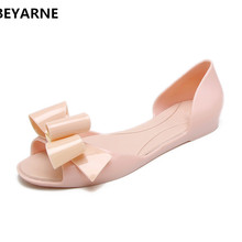7642077a358 BEYARNE woman lovely bowtie jelly shoes fish mouth lady summer flats rain  sandal women students summer