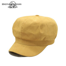 BINGYUANHAOXUAN Fashion Lady Beret Newspaper Boy Hat Solid Color Octagonal Men And Women Retro Elegant Casual