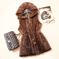 2016 Autumn Winter Women's Real Genuine Knitted Mink Fur Vest with Hoody Lady Slim Waistcoat Gilet VK1360