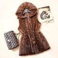 2016 outono inverno mulheres Real malha Mink colete com capuz Slim colete colete VK1360
