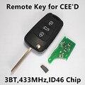 3 Botones Dominante Alejada Del Coche para KIA Ceed Pro cee'd 433 MHz ID46 Chip de Control de Entrada Sin Llave 2009-2012