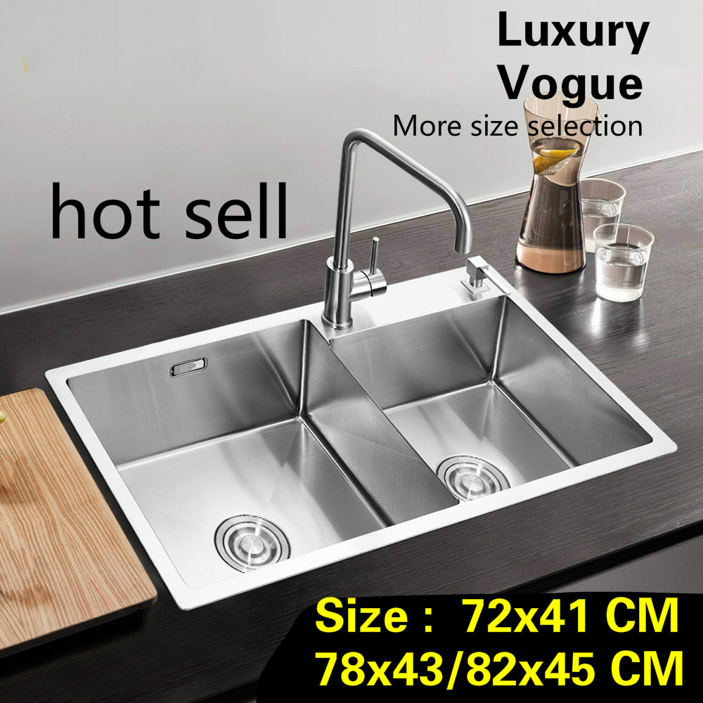 Free Shipping Fashion Standard Big Kitchen Manual Sink Double Groove Durable Stainless Steel Hot Selling  72x41/78x43/82x45 CM