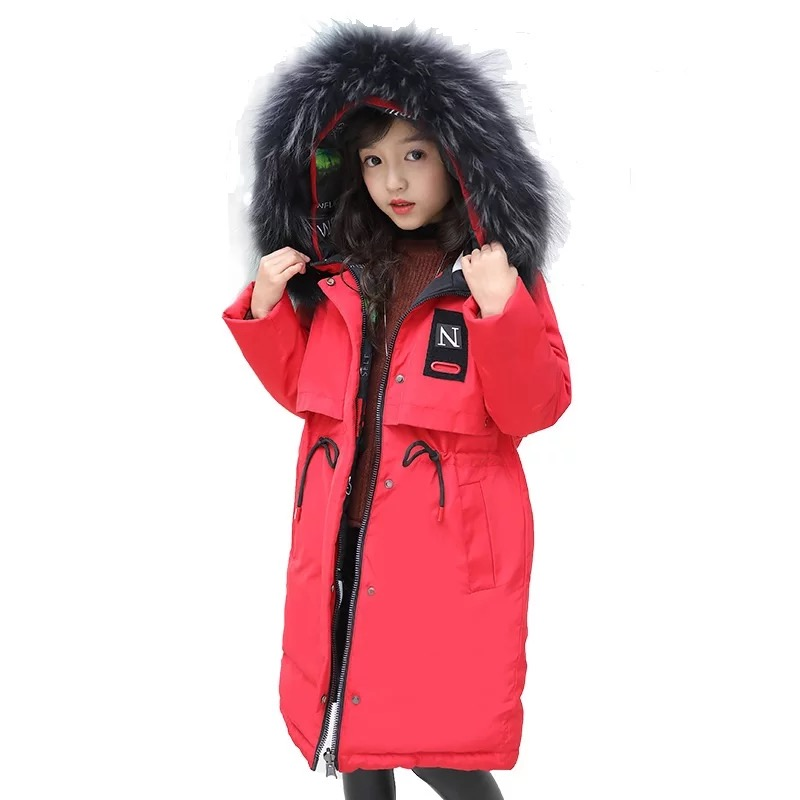 -30 degrees Girls clothing warm Down jacket for girl clothes 2018 Winter Thicken Parka real Fur Hooded Children Outerwear Coats 2015 hot thicken warm woman down jacket hooded fox fur collar luxury coats outerwear parka slim brand mid long