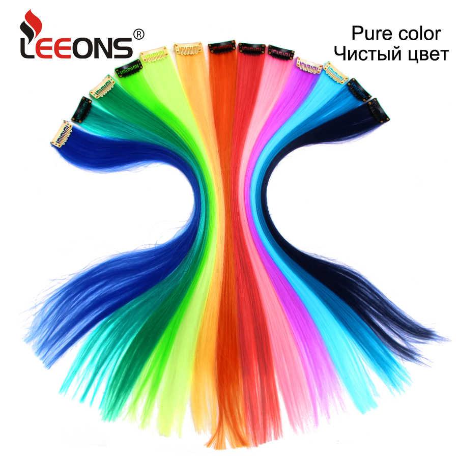 Leeons كليب في قطعة واحدة وصلات شعر مستقيم أومبير الأرجواني الأزرق الوردي تمديد الشعر النساء الاصطناعية شعر مستعار كاذبة