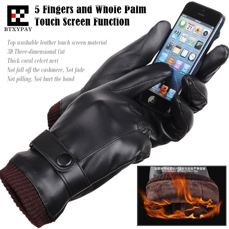 200p!Men&Women Couple Winter Plus Coral Fleece Keep Warm Top Washable Leather PU Gloves,5 Fingers&Whole Palm Touch Screen Gloves