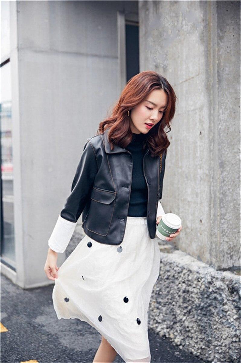 Couleurs Whitney Wang Noir Cuir 2018 Pu Mode Outwear Streetwear Automne Femmes Faux En Patchwork Contraste Veste Casual Manchette xHXXdgr