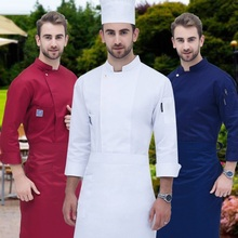 Food Service Long Sleeve Chef Jacket Professional Head Uniform Restaurant Hotel Kitchen Grey Coat  B-6260