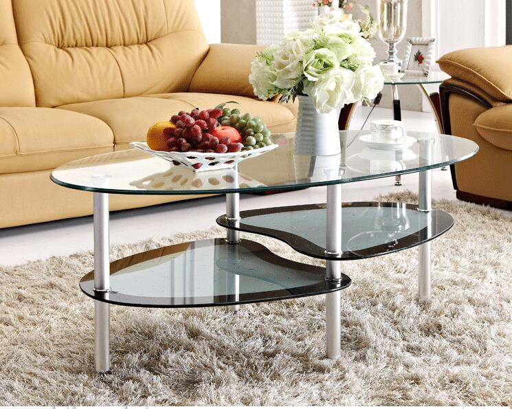 Free shipping Toughened glass tea table. The oval double tea table 1