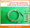 Free Ship 20PCS/lot 1M K/E type shielded wire M6 screw nail thermocouple WRNT-01/02 temperature sensor probe Thermocouple Wire
