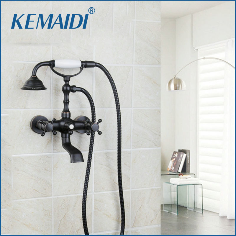 KEMAIDI Bathroom Shower Faucets Bathtub Mixer Double Handle Wall Mount Oil Rubbed Bronze Shower Set Shower Head And Hand Shower oil rubbed bronze white handle tub shower faucets with hanged shower head wall mounted bathroom bathtub shower faucets yn 420