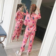9c12e83744c6 Женская одежда 2018 осень принт женский пижамный комплект район пижамы с длинным  рукавом брюки сексуальные пижамы
