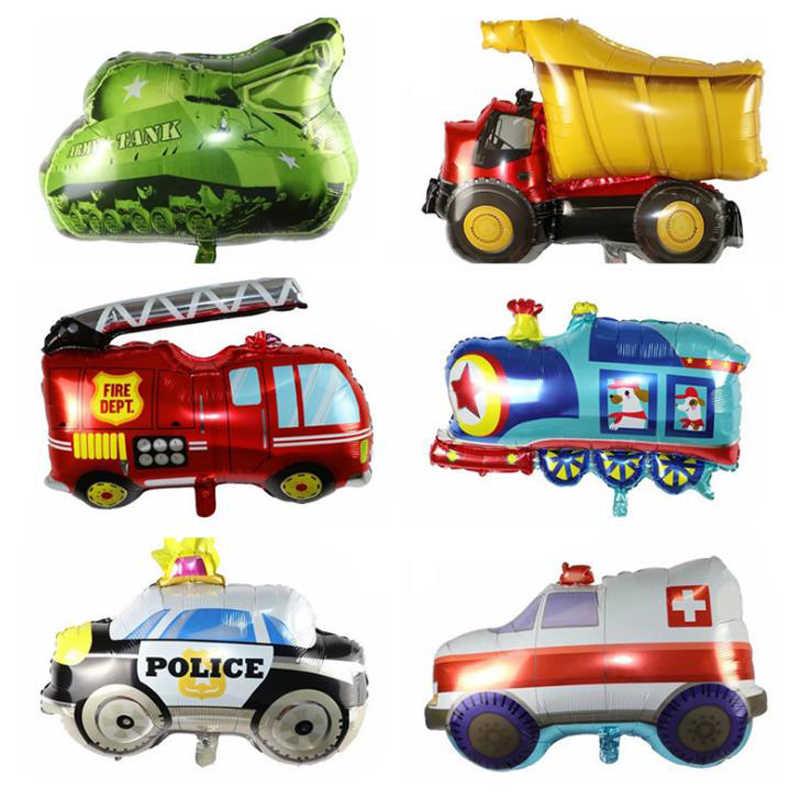 1 Pcs Lucu Besar Mobil Mainan Balon Aluminium Foil Tangki Pesawat Ambulans Bus Truk Pemadam Kebakaran Ulang Tahun Pesta Dekorasi Liburan Balon
