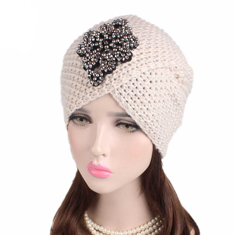 ... Caps hat female turban beanie warmer hat female warm wool women s  winter Hat applique Solid Muslim ... a7056cf7c60d
