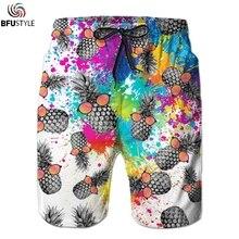 Мужские пляжные шорты с забавным принтом ананаса, повседневные мужские летние шорты с эластичной резинкой на талии, пляжные шорты для отдыха