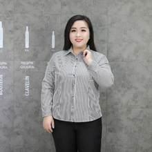 aea4e1baf78 Пикантные Для женщин Blusas 2018 элегантные Для женщин офисная одежда  негабаритных 3XL-9XL ретро Полосатый Черно-белые вечерние .