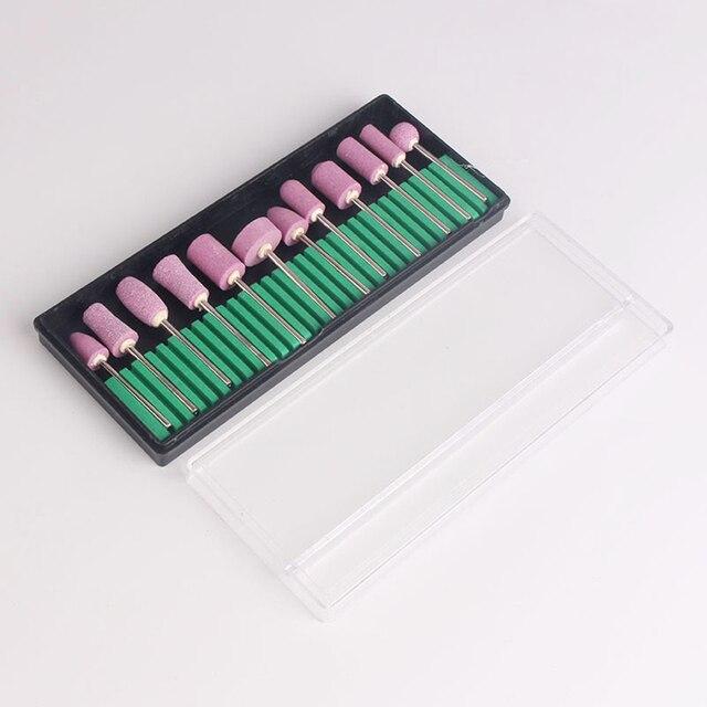 12 piezas Pro de uñas de manicura taladro Rosa uñas pulido cabeza cortadores de pedicura de fresado archivos de uñas arte