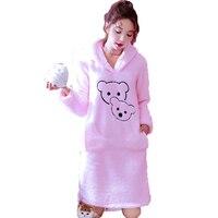 Winter Women's Nightgowns Coral Velvet Hooded Night Dress Sleepwear Plus Size Ladies Cute Cartoon Nightdress Nightwear For Women