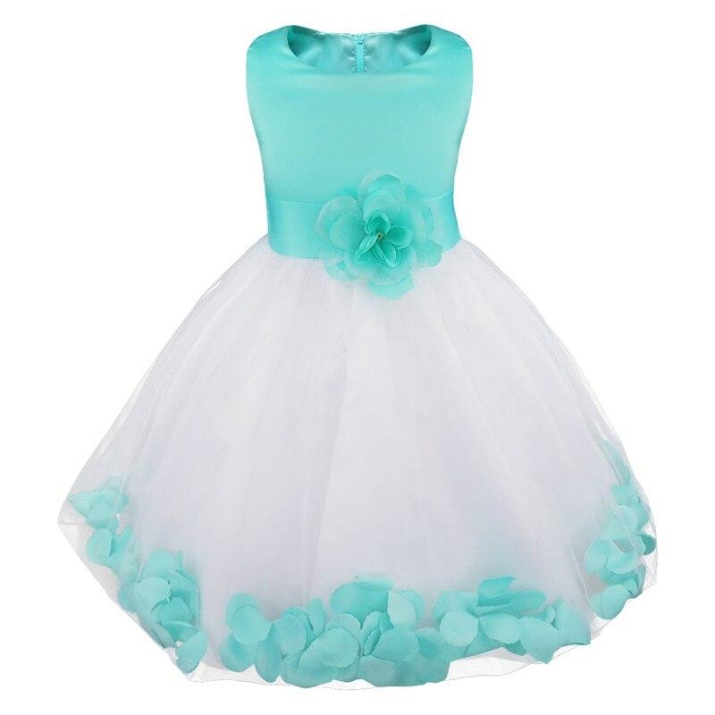 2019 infantil crianças menina flor vestido de dama de honra pétalas vestido formal vestidos pageant casamento nupcial vestido de festa com grande bowknot