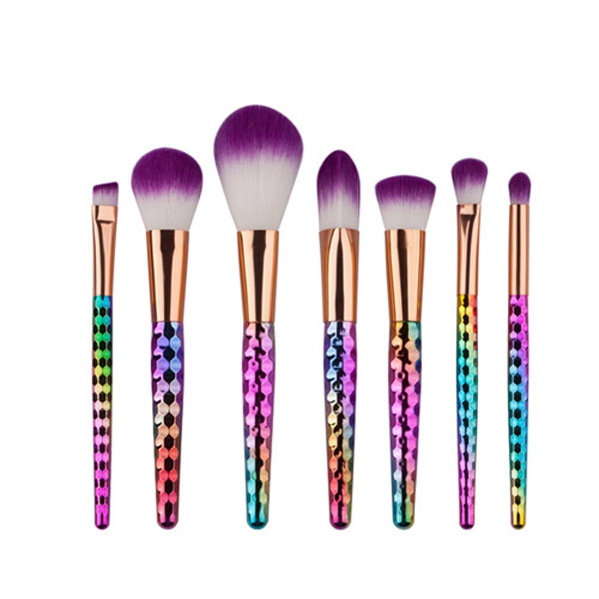 цена на Honeycomb Rainbow Handle Makeup Brushes Set Purple Hair Eyshadow Blusher Brush Powder Contour Beauty Kit Tools 4/5/6/8/9/10 Pcs
