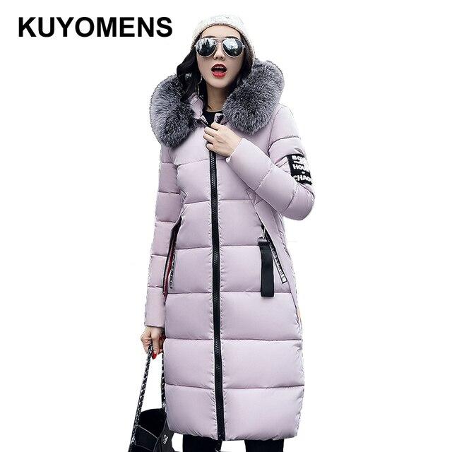Kuyomens 2017 معطف الشتاء النساء سترة طويلة سميكة الدافئة القطن سترة الفراء طوق كبير مقنع الدافئة ستر القطن مبطن قميص
