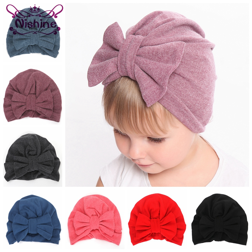 Nishine Cotton Blend Turban Hat Kids Newborn Big Bow Knot Beanie Stylish Top Knot Caps Shower Headwear Birthday Gift Photo Props