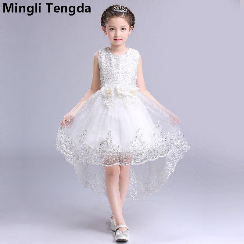 Red O-Neck   Flower     Girl     Dresses   for Weddings Sleeveless   Girl     Dress   Lace Appliques   Flower     Girl     Dress   Elegant   Dress   Mingli Tengda