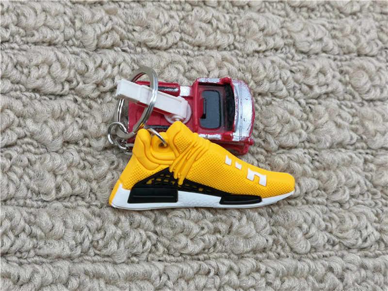 Novo mini silicone pharrell sapatos chaveiro saco charme mulher nmd chaveiro presentes acessórios da sapatilha corrida humana chaveiro porte clef