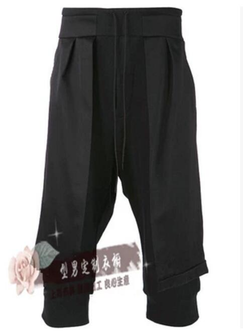 27-44 ! 2017 Men's New clothing faux two piece cropped pants culottes spring summer slim culottes Haroun pants singer costumes