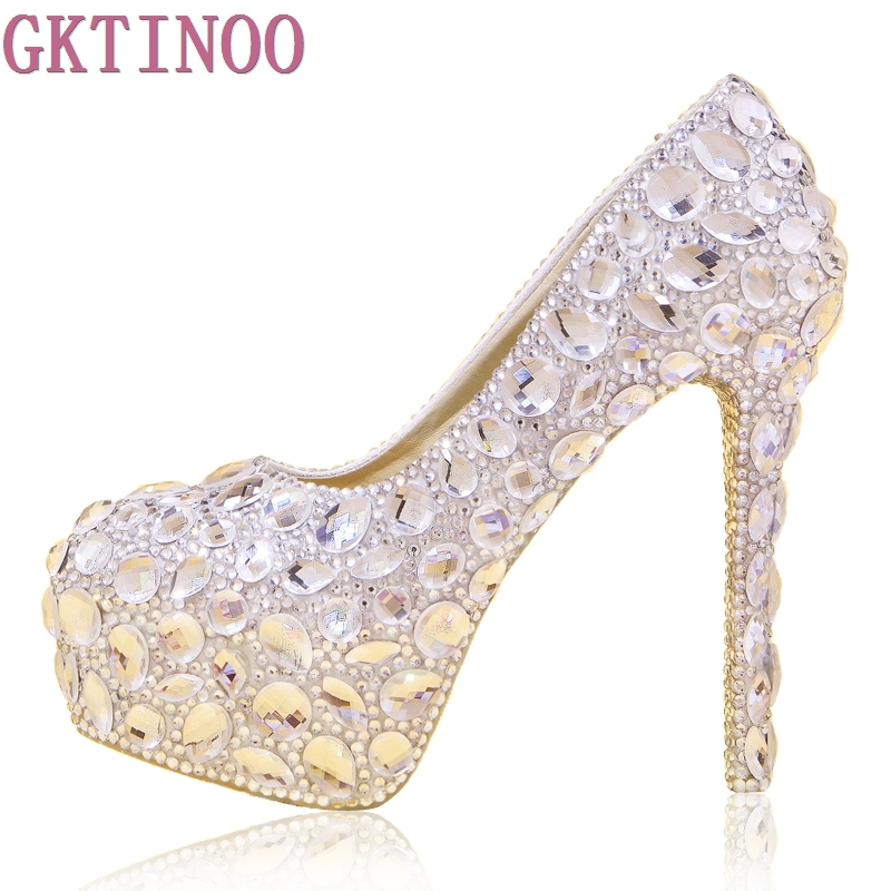 где купить  Crystal bridal shoes rhinestone handmade female silver high heels platform wedding shoes women pumps  по лучшей цене