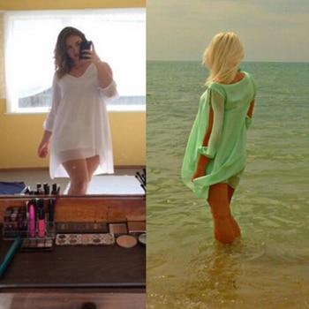 Summer Dress 2018 casual Plus Size Women Clothing Long sleeve solid color Chiffon V Dress Vestidos Beach Dress Loose neck dress 1