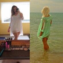 Summer Dress casual Plus Size Women Clothing Long sleeve solid color Chiffon V Dress Vestidos Beach Dress Loose neck dress