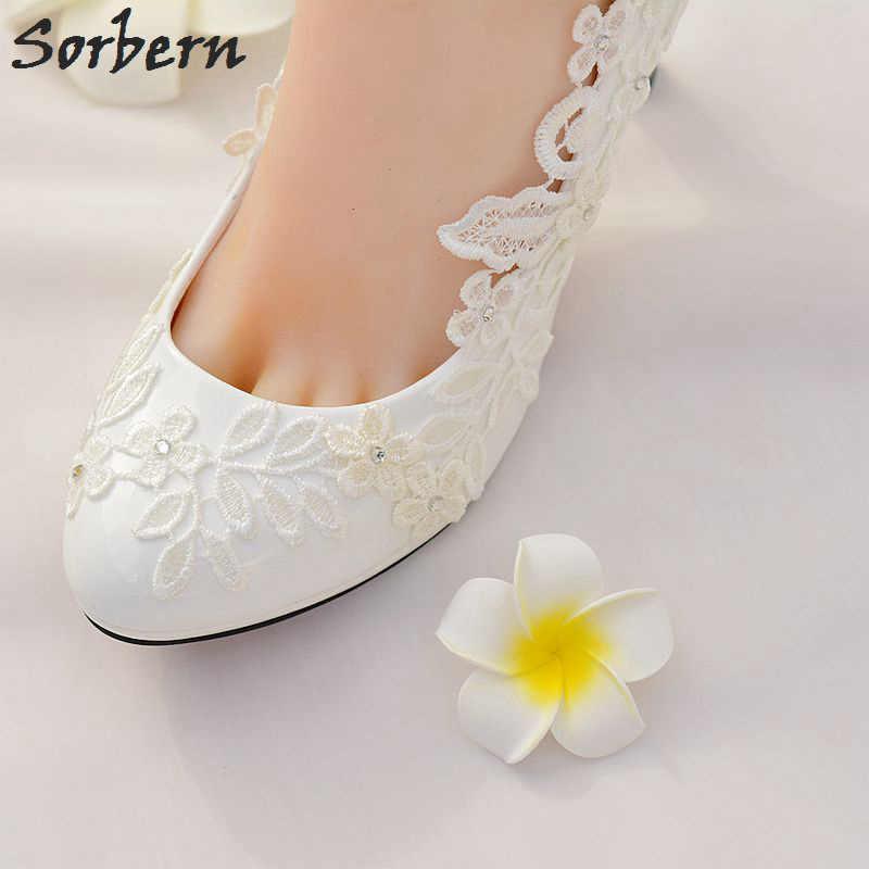 b274049da ... Sorbern Свадебные белые туфли с кружевом и цветочным принтом слипоны  круглый носок Свадебная обувь женские туфли