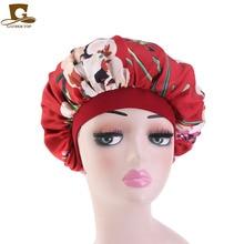 Fashion Wide Band Silky Bonnet Cap Shower cap Comfortable Night Sleep Hat Prevent Hair Falling Ladies Turban For Women