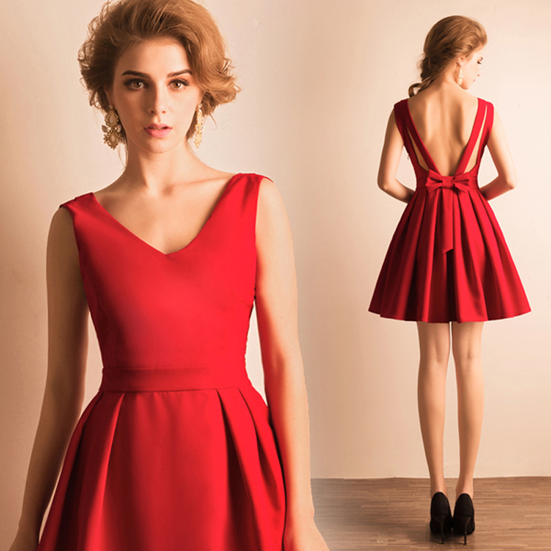Red Backless Cocktail Dress - Ocodea.com