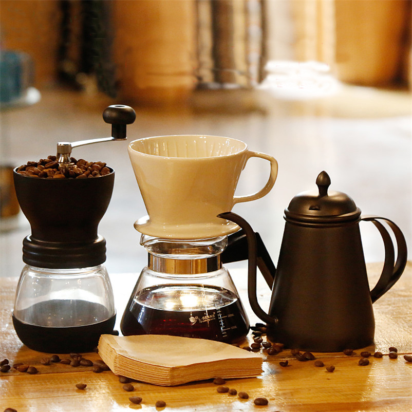 XMT-HOME Manual Pot Coffee Kettle Set Ceramic Cup Coffee Filter Paper Drip Kettle Stainless Steel Jug Bean Grinder Coffeeware