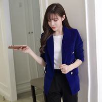 Plus Size Autumn Female Korean Slim Was Thin Velvet Leisure Suit Solid Color Double Breasted Jacket