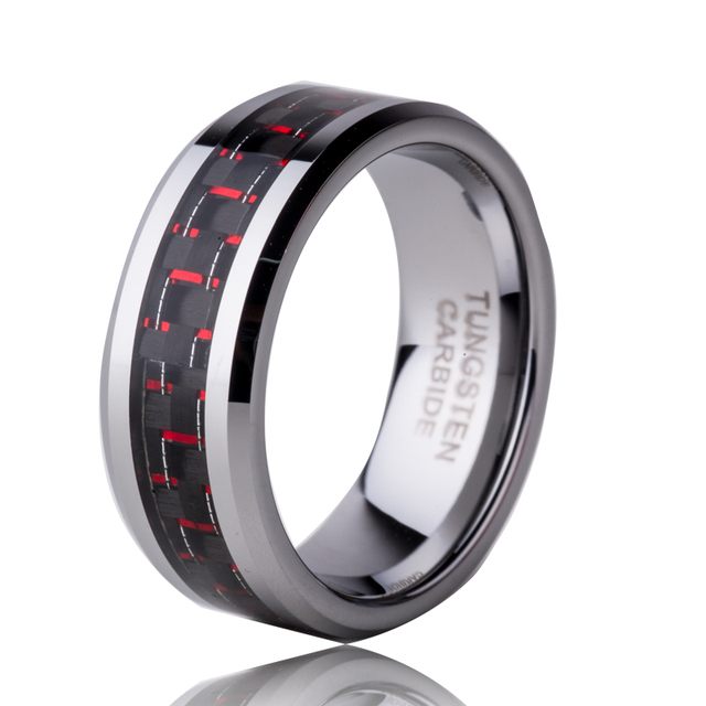 d84c3ea6c4e Hot Sale in US Austrilia Russian 8mm Tungsten Carbide Ring Men s Wedding  Band Ring Red Carbon